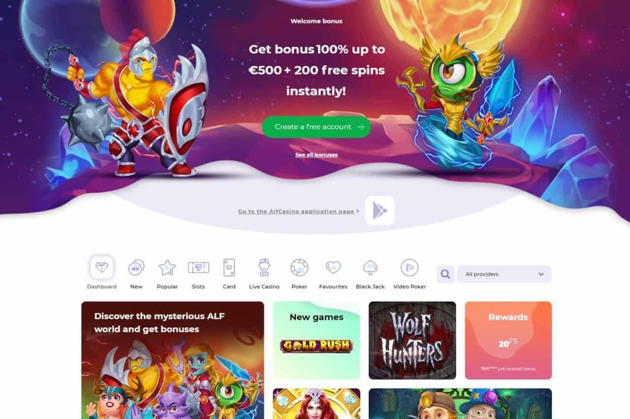 Alf Casino mājaslapa un bonusi