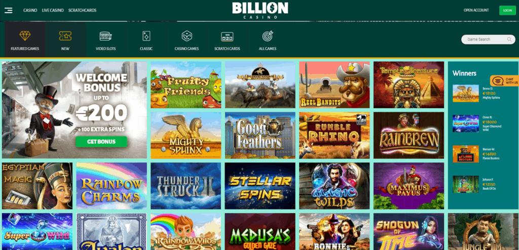 Billion Casino kazino spēles