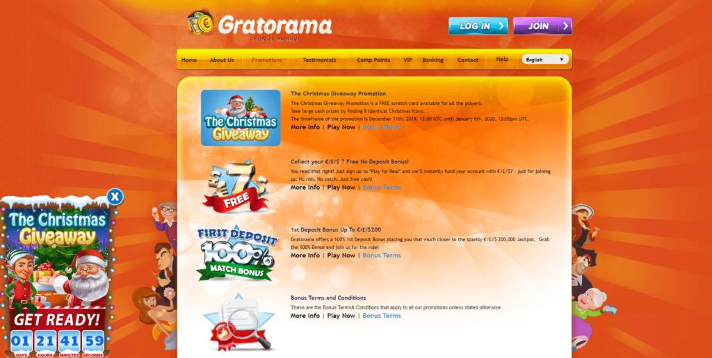 Gratorama бонусы