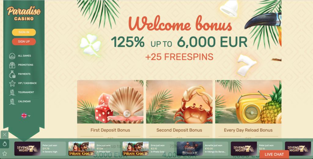Paradise Casino bonusi
