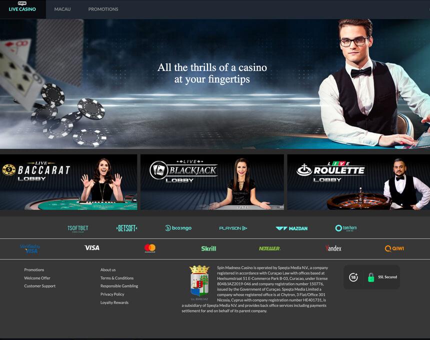 Spin Madness kazino apskats